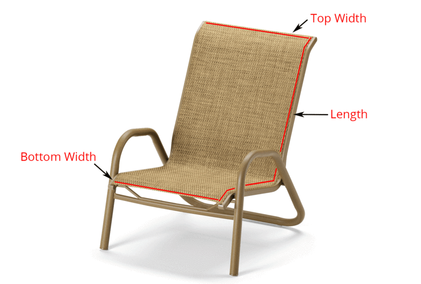 diagram showing where to measure 1 piece chair to buy replacement sling