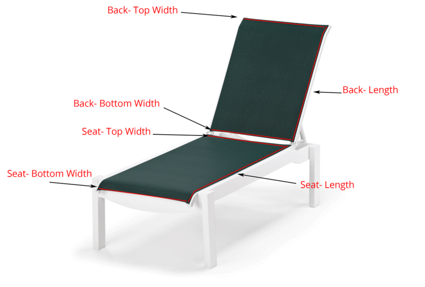 diagram showing where to measure chaise lounge to buy replacement sling