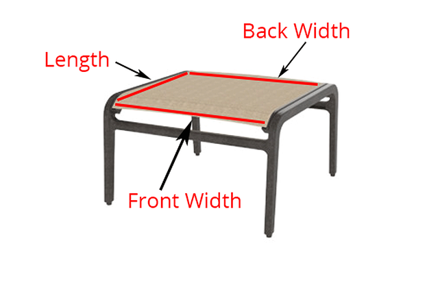 diagram showing where to measure ottoman stool to buy replacement sling - READ THIS Before You Buy Replacement Slings For Your Patio Furniture