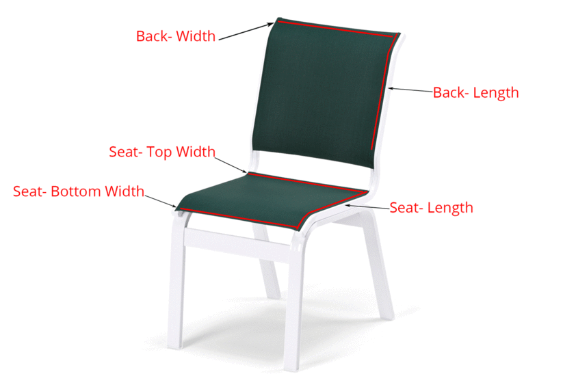 diagram showing where to measure 2 piece chair to buy replacement sling