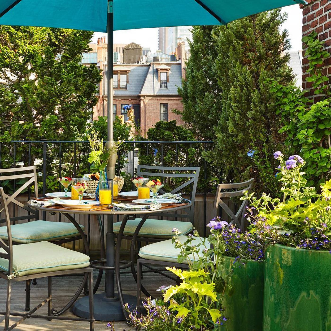 brown jordan furniture in boston back bay rooftop garden
