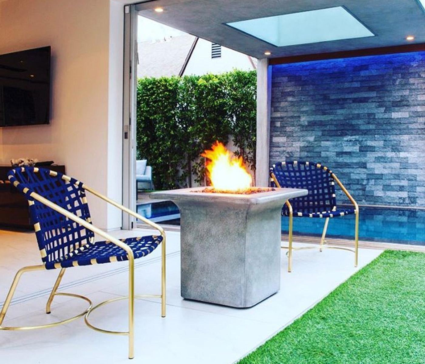 blue and gold brown jordan kantan chairs