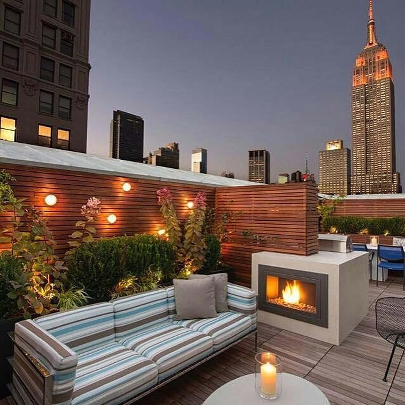 striped brown jordan sofa in NYC rooftop garden