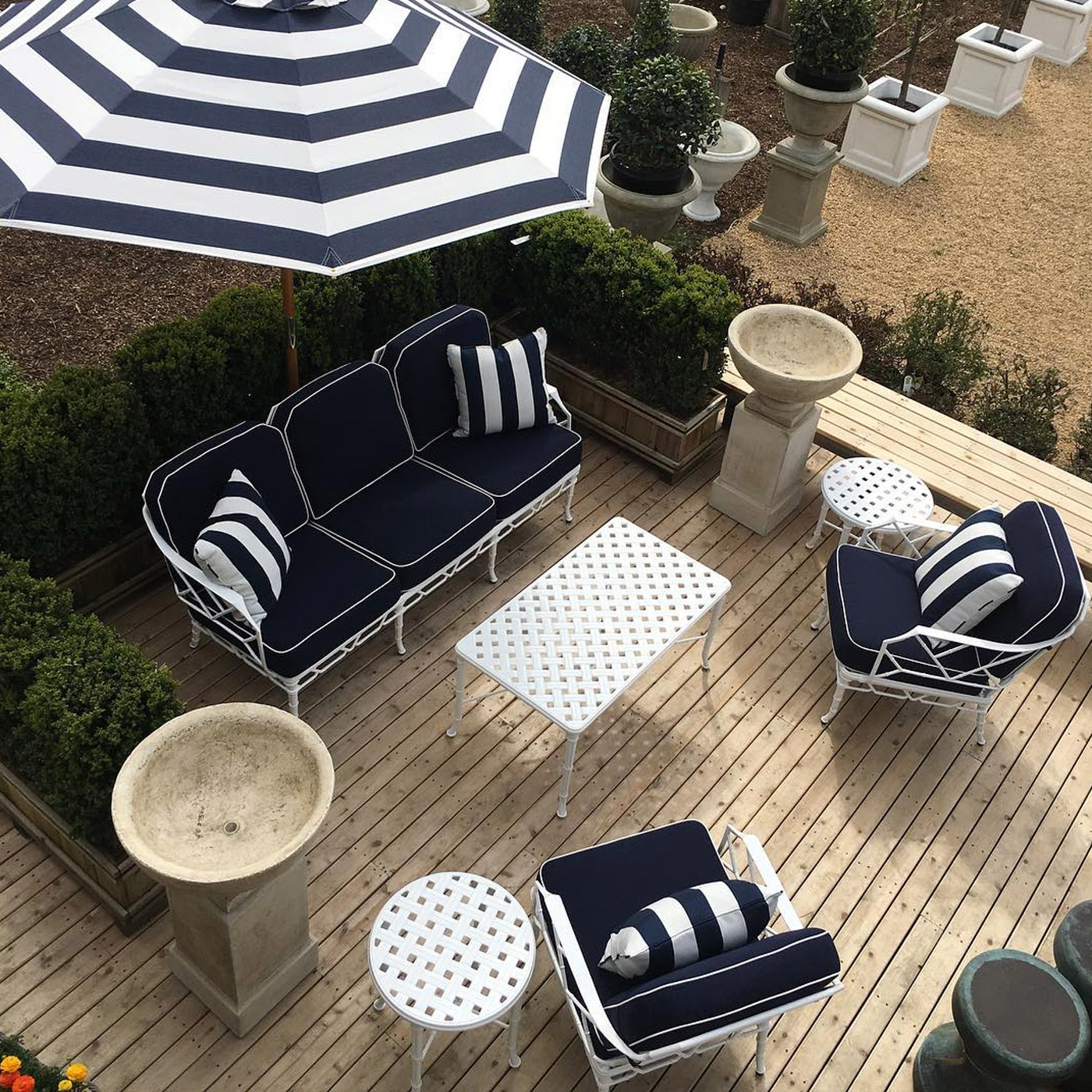 classic striped navy brown jordan furniture in the hamptons